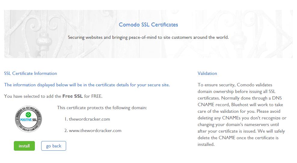 블루호스트 SSL 인증서