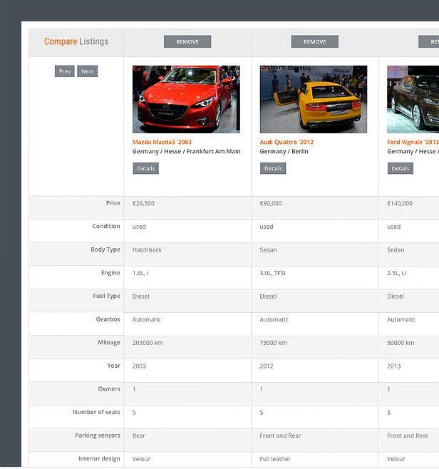 automotive theme comparison page compressor  -  Car Dealer Automotive  - カーディーラー、自動車のワードプレスのテーマ