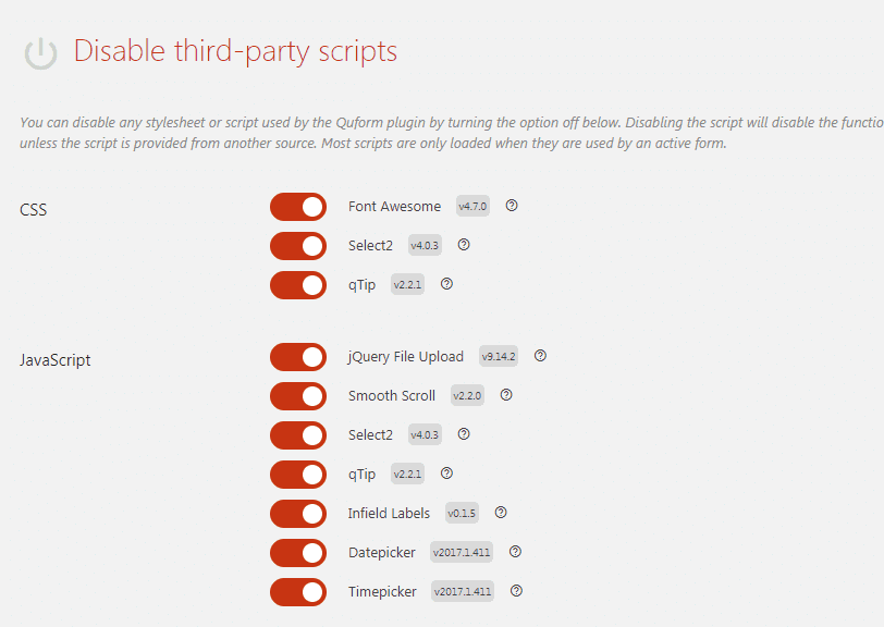 Disable third party scripts compressor  -  Quformコンタクトフォームプラグインは、段階的にフォームを入力することができる複数のページ機能を追加