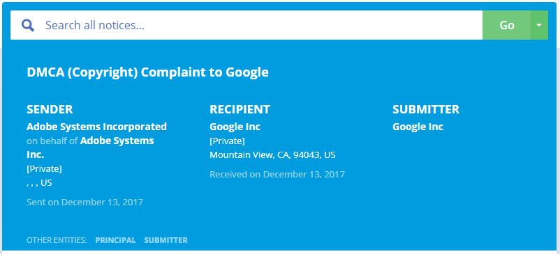 DMCA compressor - Adobe로부터 저작권 침해 의심 신고를 받았습니다