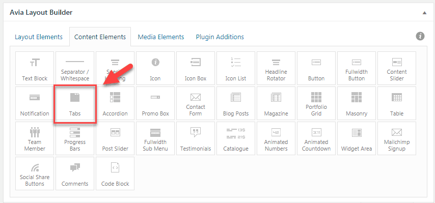 WordPress Enfold テーマでタブセクションの要素(Tab Section Element)を使用する8