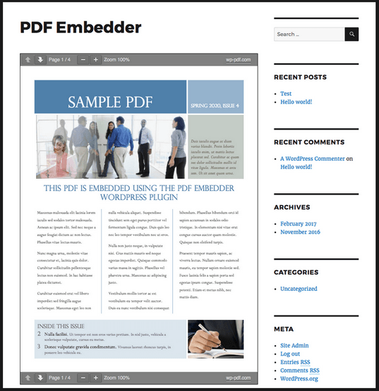 WordPress PDFビューアプラグイン4