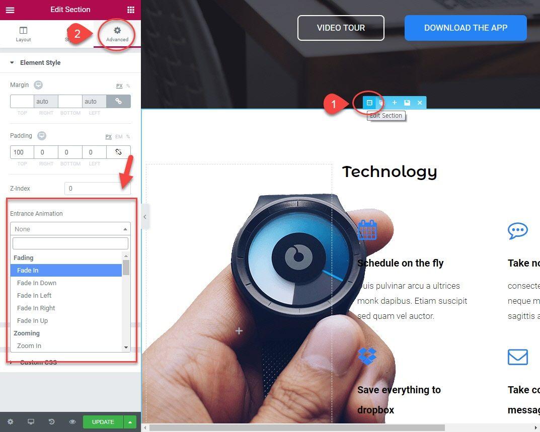 WordPress Elementorページビルダーでアニメーション効果を使用する