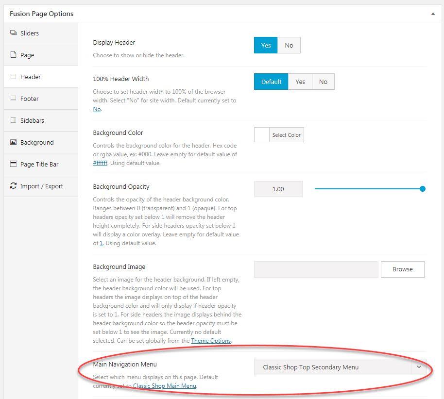 Avada フュージョンページのオプション