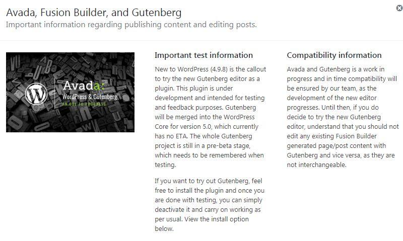 Avada와 Gutenberg 注意