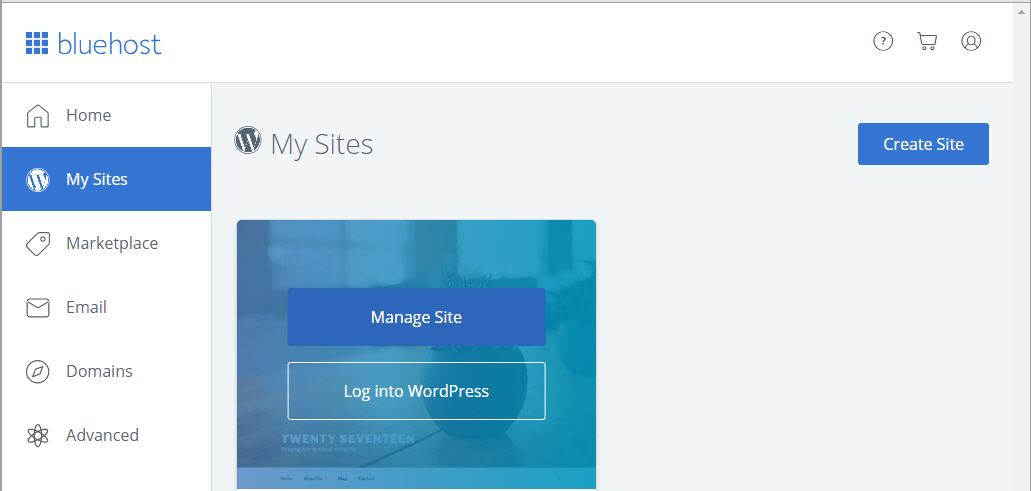 블루호스트 로그인 - My Sites 페이지