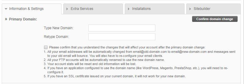 해외 호스팅 SiteGround에서 기본 도메인 이름 변경하기