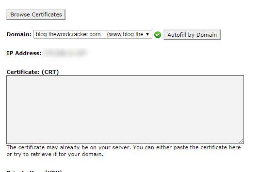 サブドメインでのSSL証明書をインストール
