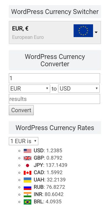 WordPress 通貨のコンバーター