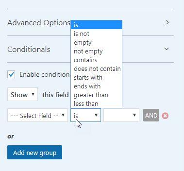 フィールド条件のオプション -  WPForms