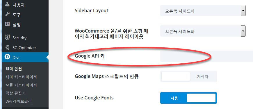 Divi 테마 구글맵 API 키
