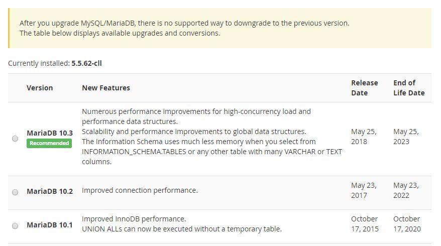 MySQLのアップグレード