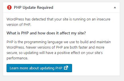 워드프레스 PHP Update Required 경고