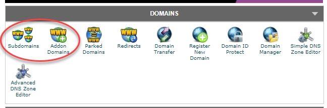 cPanelでドメインまたはサブドメインを追加する