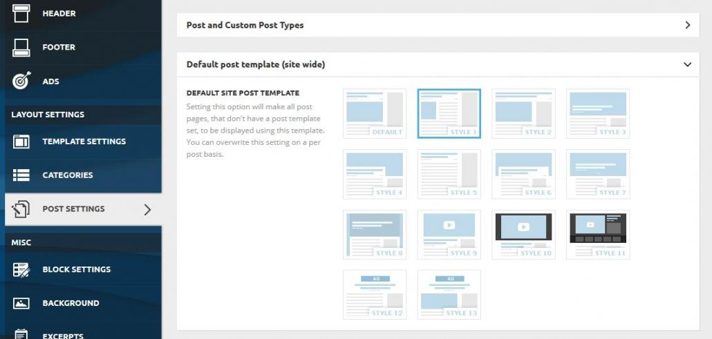워드프레스 뉴스페이퍼 기본 포스트 템플릿 설정