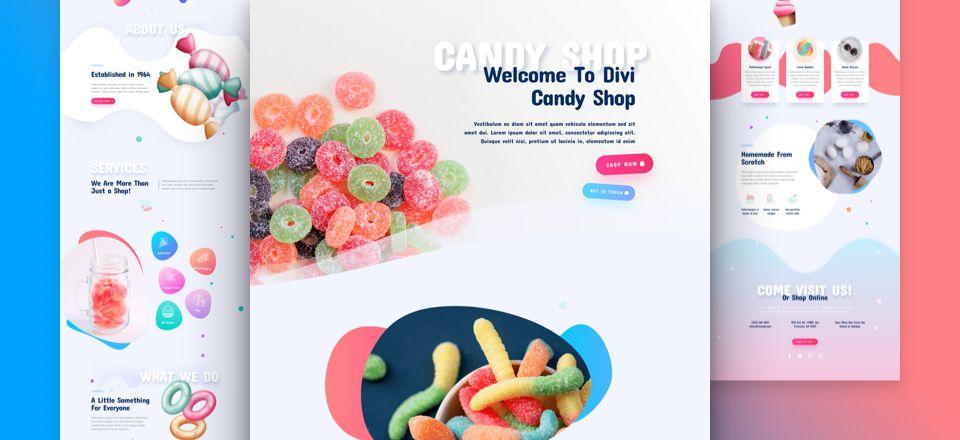 Divi用の無料菓子店(Candy Shop)レイアウトパック