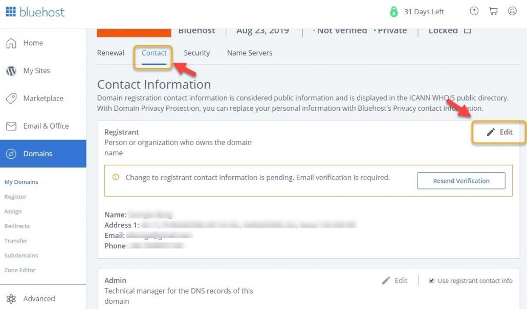 Bluehost ドメインの登録者の電子メールを変更する
