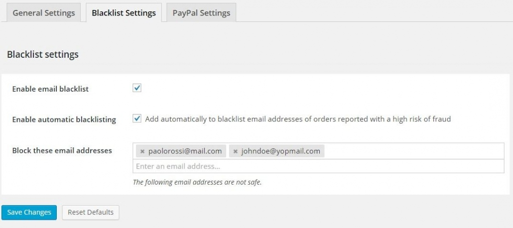 詐欺注文ブラックリストの設定 - ワードプレスの場合コマースプラグイン