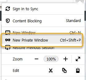 파이어폭스 - New Private Window