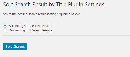 Sort Search Result by Title 플러그인 설정 페이지