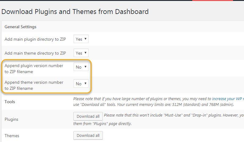 다운로드하는 플러그인 및 테마 파일의 ZIP 파일이름에 버전 번호 추가하기