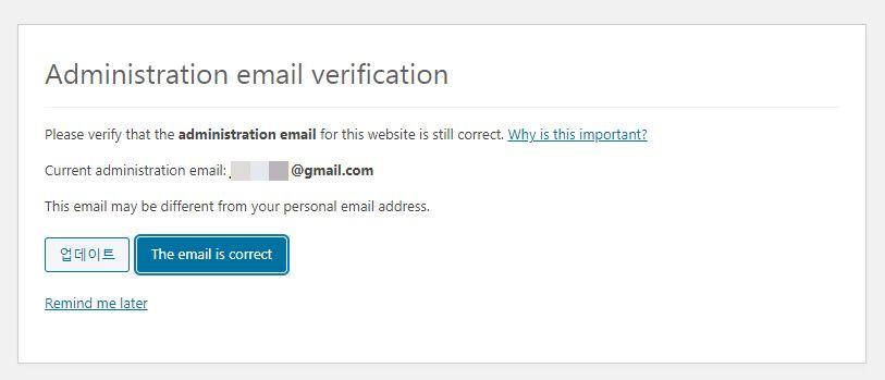 ワードプレス - 管理者の電子メール確認画面
