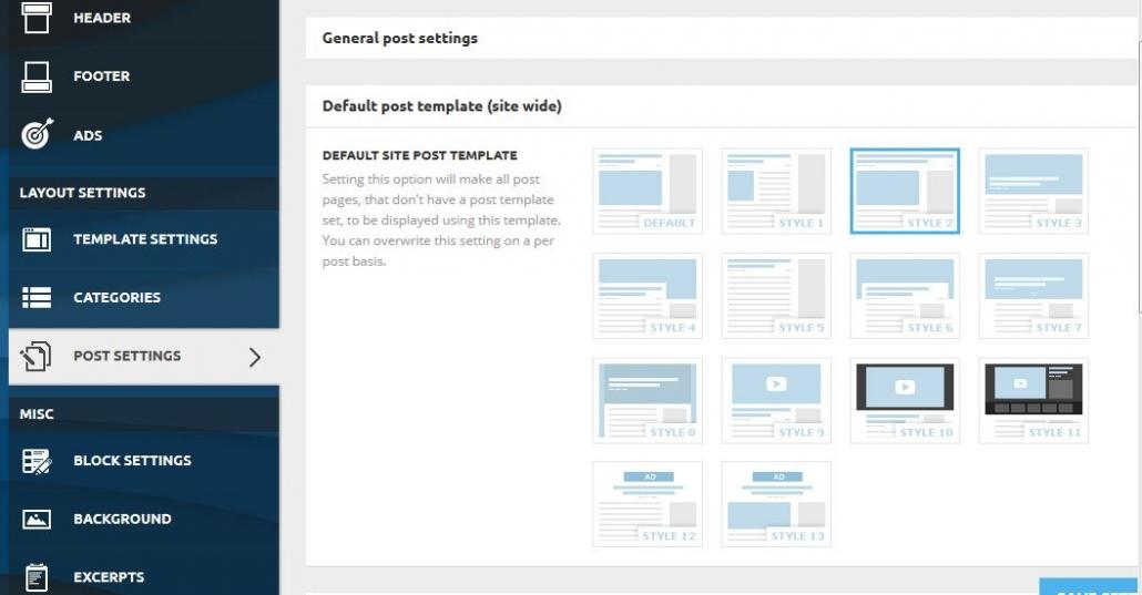워드프레스 뉴스페이퍼 테마 - Post Settings
