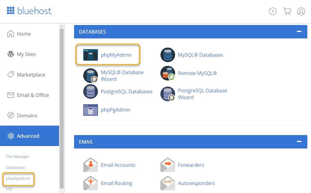해외호스팅 블루호스트에서 phpMyAdmin에 접속하는 방법