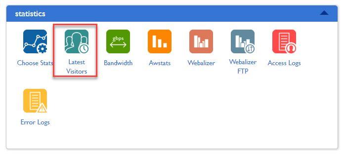 블루호스트 cPanel 통계 - 최근 방문자 IP 주소 리스트