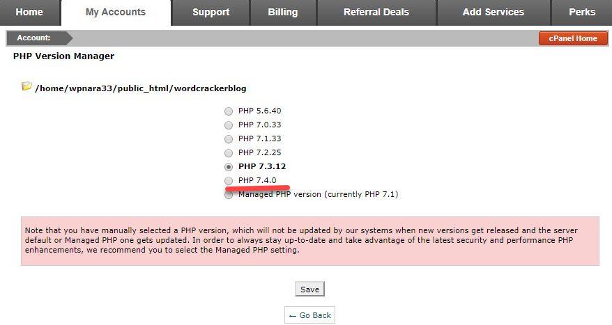海外ホスティング SiteGround SiteGround PHPのバージョン7.4に適用