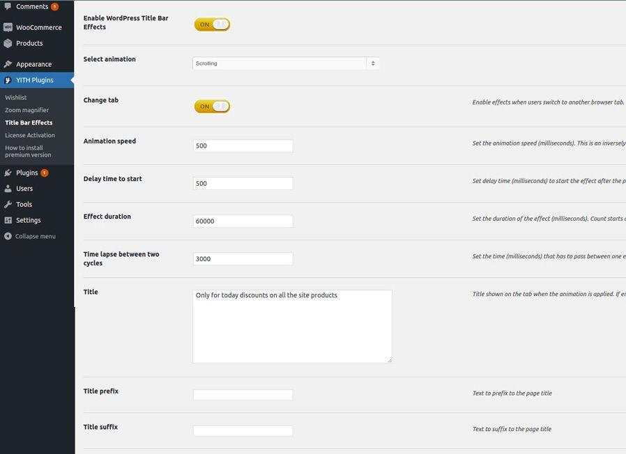 ワードプレスYITH WordPress Title Bar Effectsプラグインの設定ページ