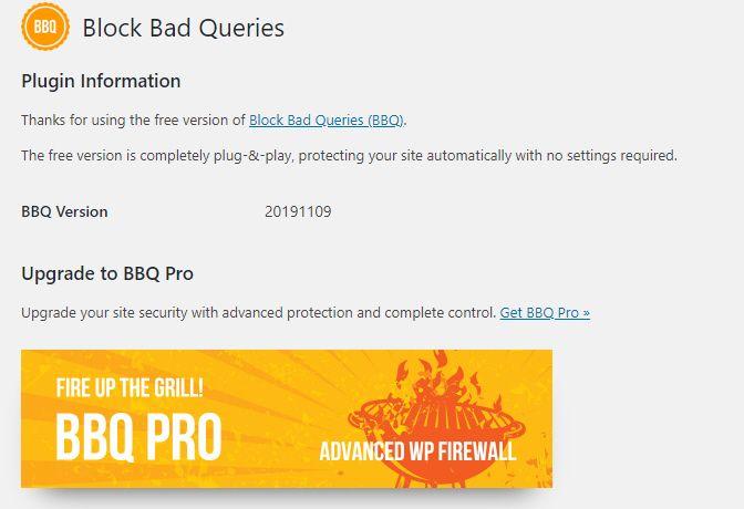 WordPress ファイアウォールプラグインBBQ:Block Bad Queries無料版