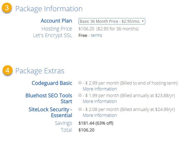 해외 웹호스팅 블루호스트 호스팅 가입 - 패키지 정보 입력