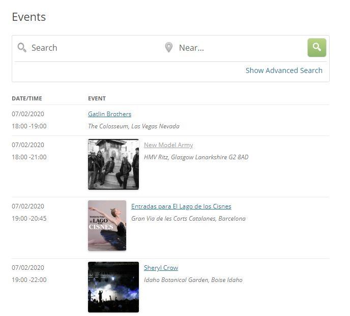 イベント管理プラグインのイベントのリスト