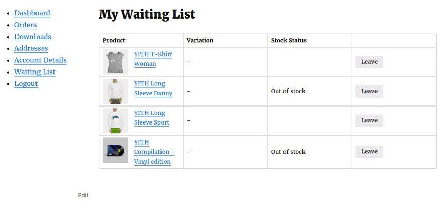 ワードプレス商品待機申し込みプラグイン -  My Waiting Listページ