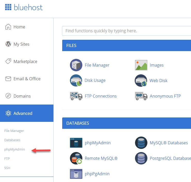 海外ホスティング BluehostでphpMyAdminにアクセスする方法