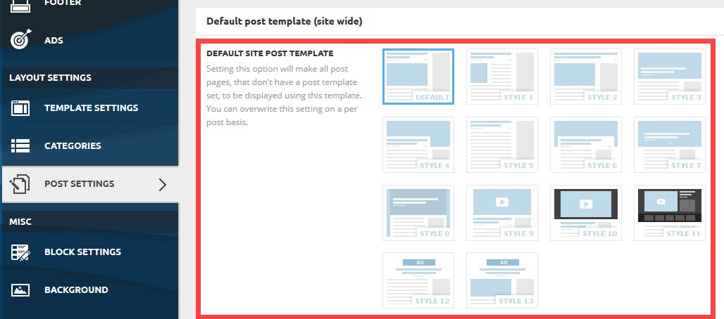 뉴스페이퍼 테마의 기본 사이트 포스트 템플릿