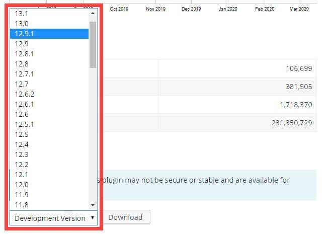 前のワードプレスプラグインのバージョンのインストールファイルをダウンロード