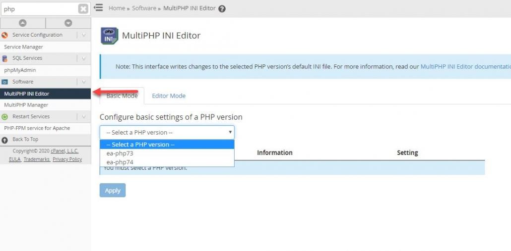 PHP ini設定値の変更