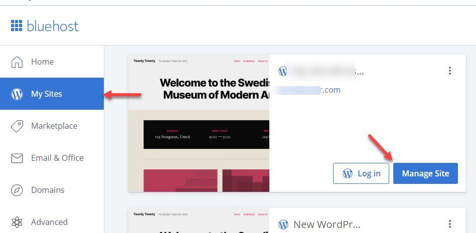 블루호스트 홈페이지에서 워드프레스 사이트 관리하기