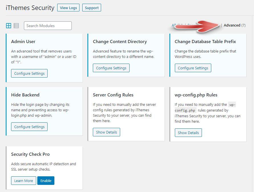 워드프레스 iThemes Security 플러그인의 고급 툴