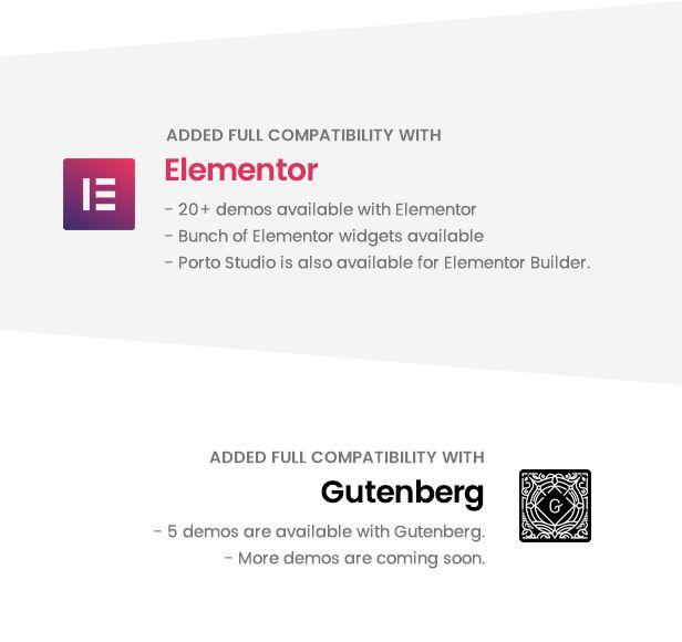 엘리멘터 페이지 빌더용 데모 & 구텐베르크용 데모