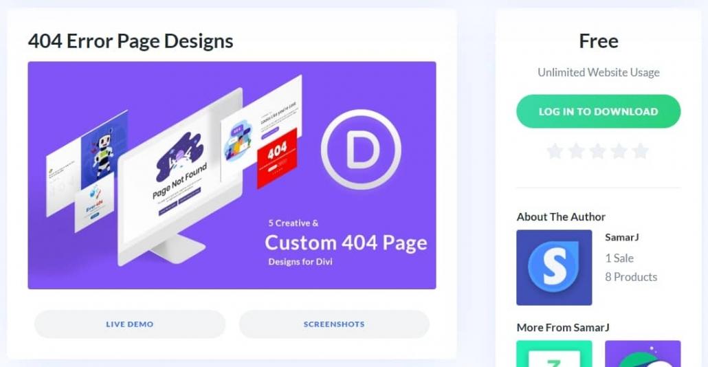 Divi Marketplaceから無料で配布されている404 Error Page Designsレイアウト