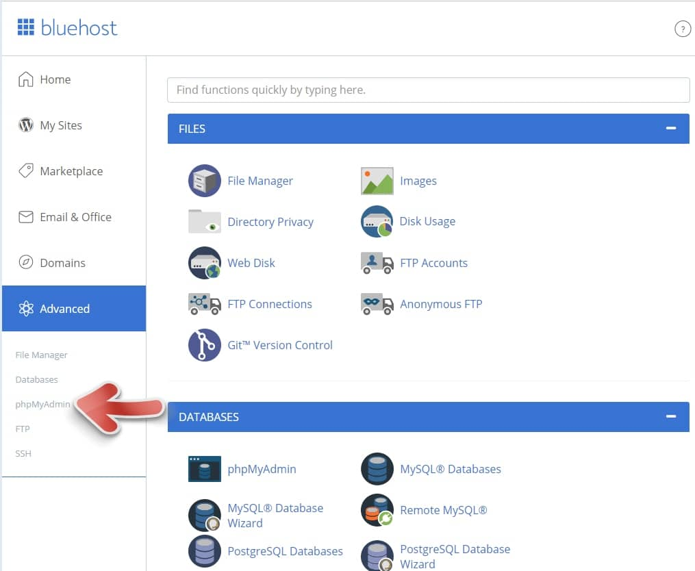 Bluehost Bluehost -  phpMyAdmin接続する