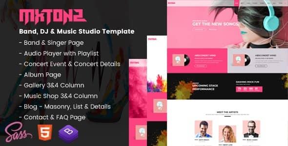 MxTonz  -  A Fresh Band、DJ&Music Studio Template(バンド、DJ&音楽スタジオHTMLテンプレート)無料ダウンロード