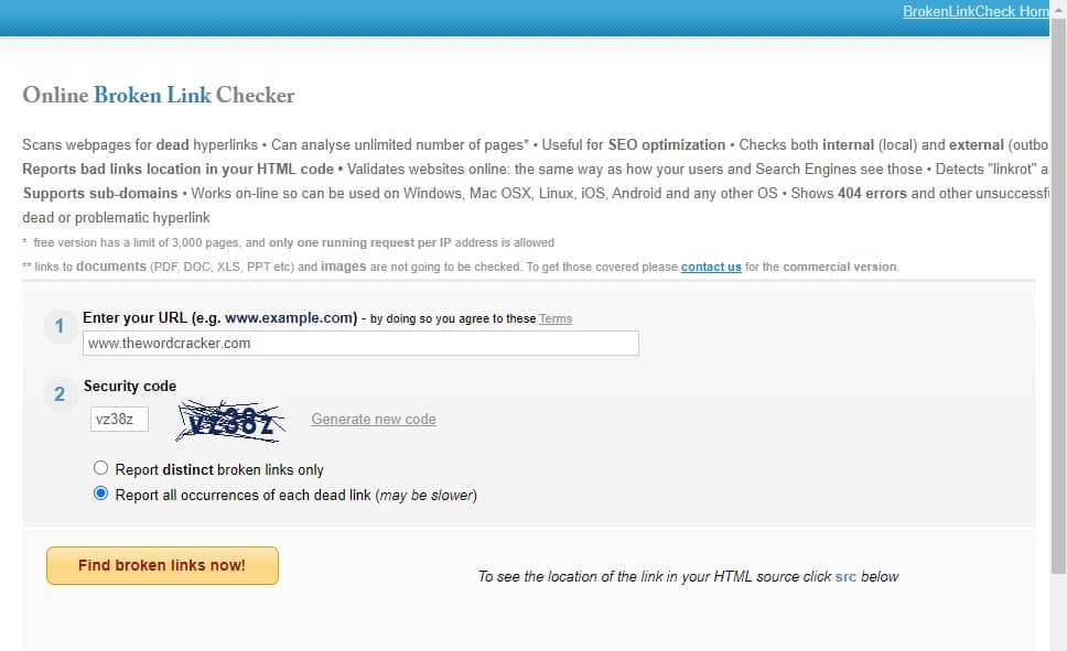 온라인 깨진 링크 검사 사이트 - Online Broken Link Checker