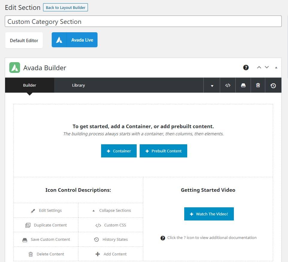 WordPress Avada テーマ - カスタムカテゴリのセクション