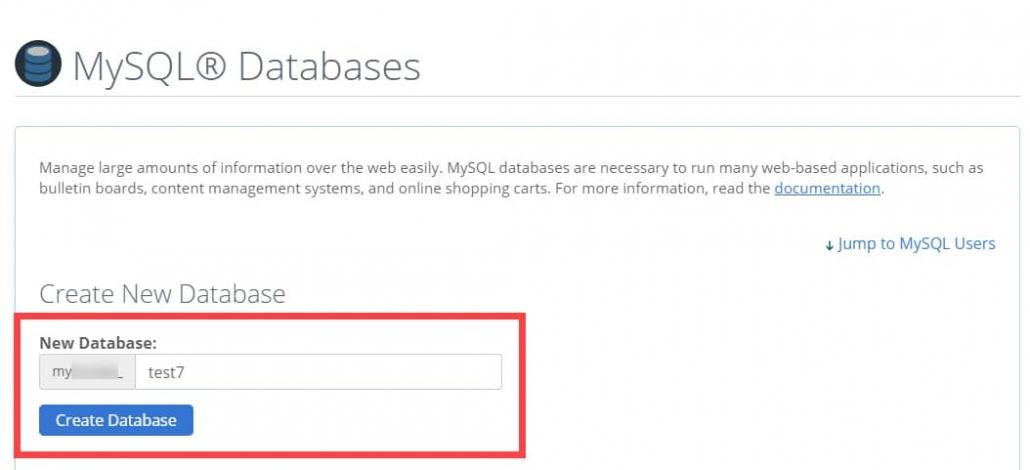 新しいデータベースを作成 -  cPanel