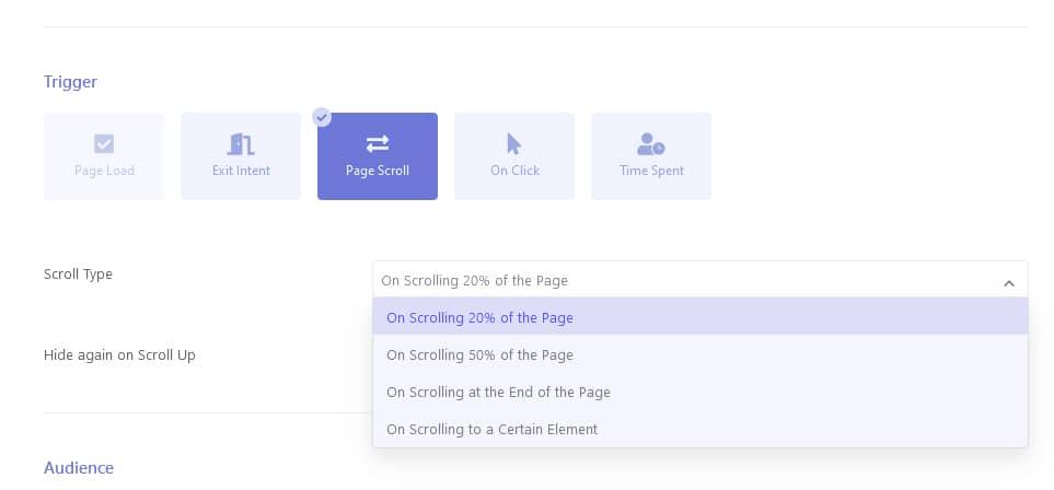 ブレイブポップアッププラグイン - ページスクロール機能