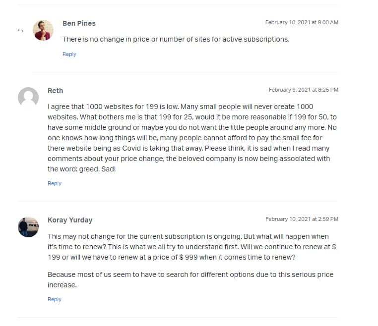 엘리멘터 페이지 빌더 요금제에 대한 사용자들의 반응